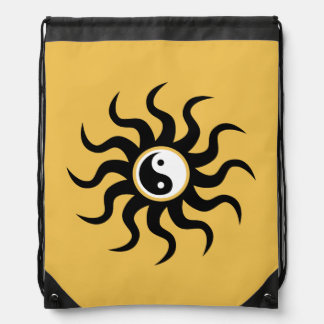 Yin-Yang Aztec Symbol/Black and White Drawstring Backpack