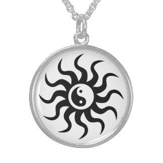 Yin-Yang Aztec Symbol/Black and White Round Pendant Necklace