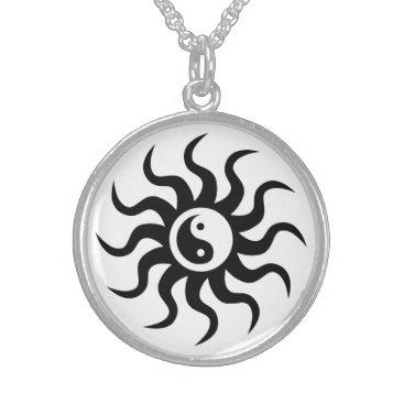 avisnoelledesigns Yin-Yang Aztec Symbol/Black and White Sterling Silver Necklace