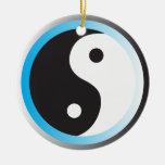 Yin Yang (azul) Adorno Navideño Redondo De Cerámica
