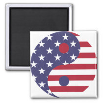 Yin Yang Balance for USA Magnet
