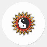 Yin Yang Balanced Sun Classic Round Sticker