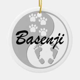 yin yang basenji christmas tree ornaments