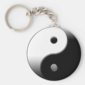Yin Yang Basic Round Button Keychain