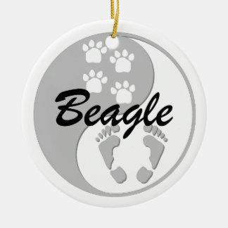 yin yang beagle Double-Sided ceramic round christmas ornament