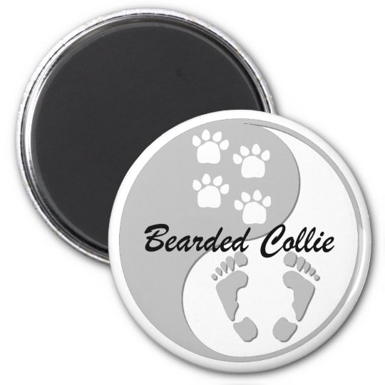 yin yang bearded collie 2 inch round magnet