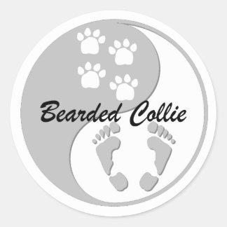 yin yang bearded collie classic round sticker