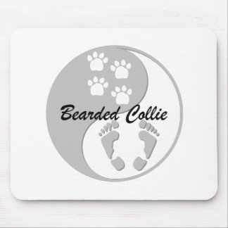 yin yang bearded collie mouse pad