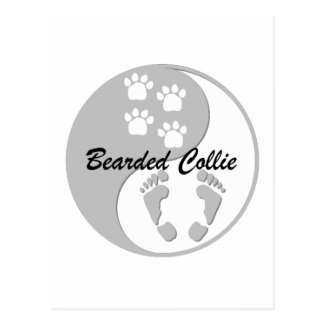 yin yang bearded collie postcard