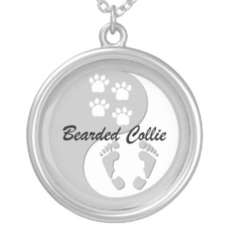 yin yang bearded collie silver plated necklace