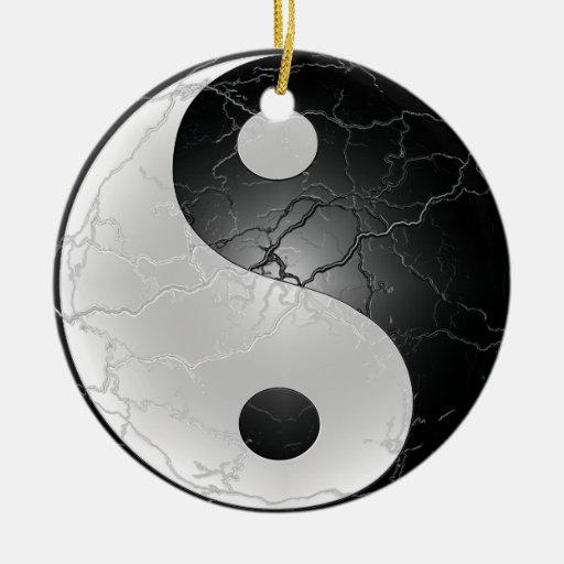 Yin Yang Black and White Christmas Ornament