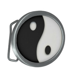 Yin & Yang Black and White Custom Oval Belt Buckle