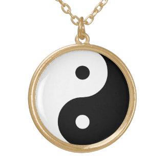 Yin Yang Black and White Illustration Template Gold Plated Necklace