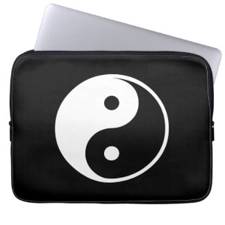 Yin Yang Black and White Illustration Template Laptop Sleeve