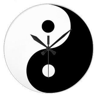 Yin Yang Black and White IllustrationTemplate Large Clock