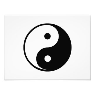 Yin Yang Black and White Illustration Template Photo Print