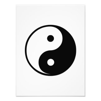 Yin Yang Black and White Illustration Template Photographic Print
