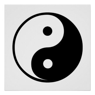 Yin Yang Black and White Illustration Template Poster