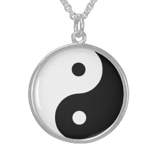 Yin Yang Black and White IllustrationTemplate Sterling Silver Necklace