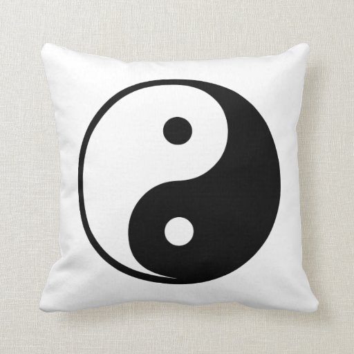 Yin Yang Black and White Illustration Template Throw Pillow