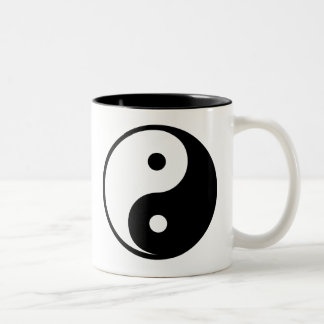 Yin Yang Black and White Illustration Template Two-Tone Coffee Mug