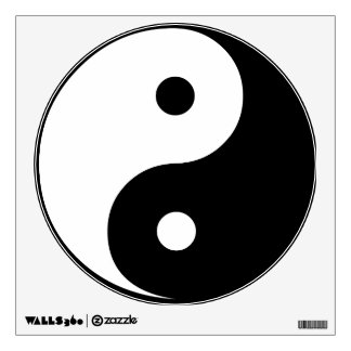 Yin Yang Black and White IllustrationTemplate Wall Decal