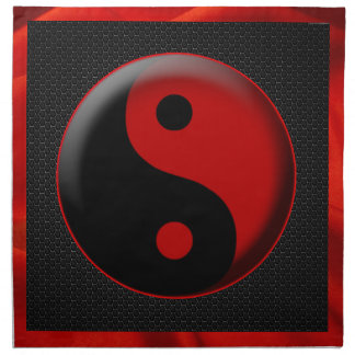 YIN YANG BLACK RED 3D NAPKIN