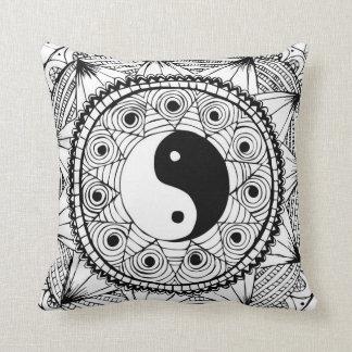 Yin & Yang Black Throw Pillow