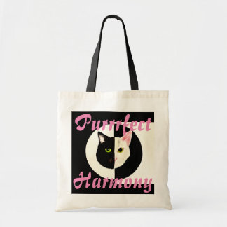 Yin yang black white cat perfect harmony tote bag