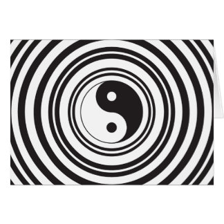 Yin Yang Black White Concentric Circles Pattern Card
