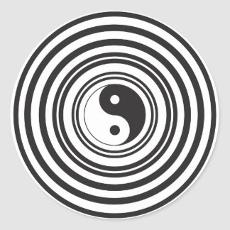 Yin Yang Black White Concentric Circles Pattern Classic Round Sticker