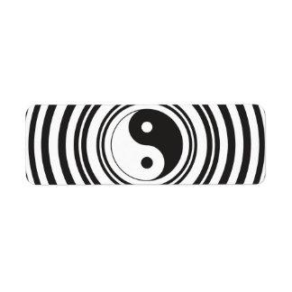 Yin Yang Black White Concentric Circles Pattern Label