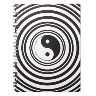 Yin Yang Black White Concentric Circles Pattern Notebook