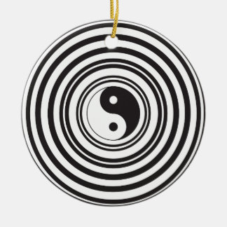 Yin Yang Black White Concentric Circles Pattern Double-Sided Ceramic Round Christmas Ornament