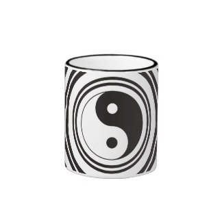 Yin Yang Black White Concentric Circles Pattern Ringer Mug