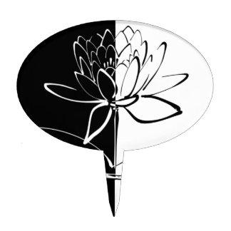 Yin Yang Black White Lotus Blossom Cake Topper