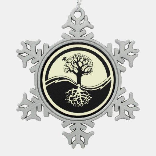 Symbol balance harmony snowflake pewter christmas ornament zazzle