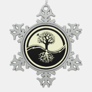 Yin Yang Black & White Symbol Balance Harmony Snowflake Pewter Christmas Ornament