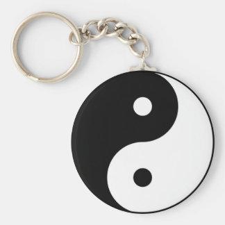 yin yang black white symbol keychain