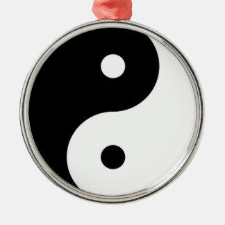 yin yang black white symbol metal ornament