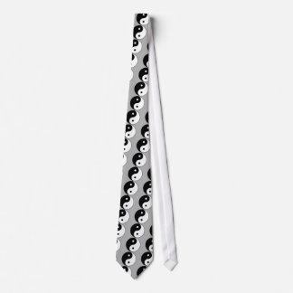 yin yang black white symbol neck tie