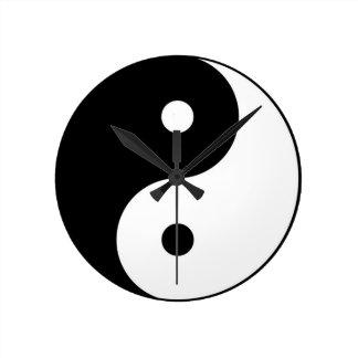 yin yang black white symbol round clock
