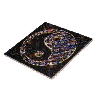 Yin Yang Blue Metal Fire Ceramic Tile
