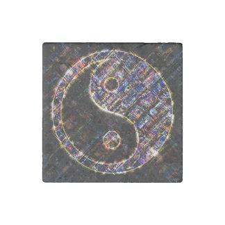 Yin Yang Blue Metal Fire Stone Magnet