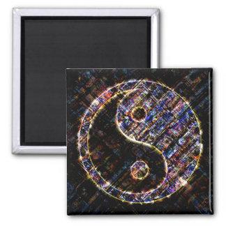 Yin Yang Blue Metal Fire 2 Inch Square Magnet