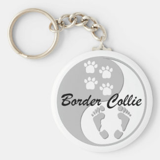 yin yang border collie keychain