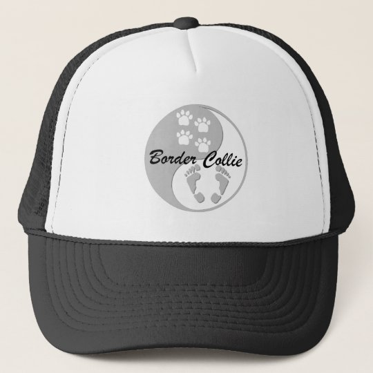 yin yang border collie trucker hat