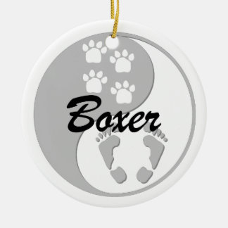 yin yang boxer Double-Sided ceramic round christmas ornament