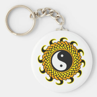 Yin Yang Braided Sun Basic Round Button Keychain