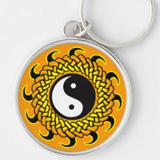 Yin Yang Braided Sun Silver-Colored Round Keychain